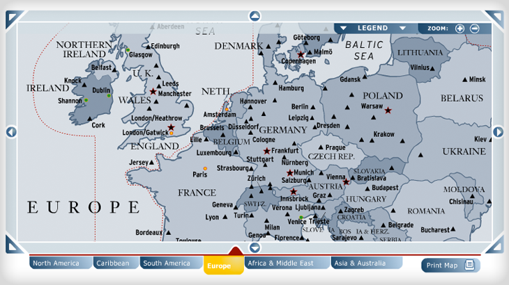 US Airways Interactive Map